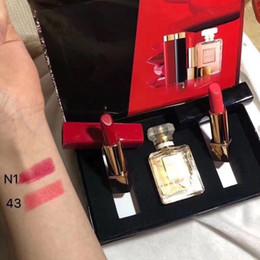 Wholesale matte box kit - HOT Brand Makeup SET Matte Lipstck Perfume set 3 in 1 Kit with box good gift for beauty women DHL shipping