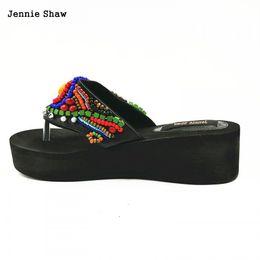 Wholesale Beaded Flip Flop Slippers - Handmade Female Sandals Beaded Summer Bohemia Beach Slippers Women Flip Flops sys-1118