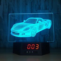 bateria de carro Desconto 3D Cool Car Ilusão Relógio Lâmpada Night Light RGB Luzes USB Powered 5a Bateria Remoto Dropshipping Caixa de Varejo