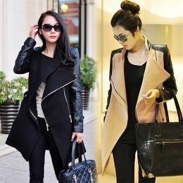2018 Outono Inverno Moda Mulheres Casaco Patchwork Womens Longo De Lã De Couro Pu Manga Jaqueta Casaco Windbreaker Transporte Rápido de Fornecedores de casaco de estilo coreano feminino cinza