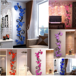 Blaue blumenmalereien online-Größe S 24 cm * 80 cm DIY 3D Acryl Rose Blume Wandaufkleber Entfernbare Wandtattoo Dekoration Wandbild kunst