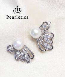 Boucles d'oreilles en perles argentées en Ligne-réglage de boucle d'oreille en argent sterling zircone cubique, montage de boucle d'oreille papillon, boucle d'oreille vierge sans perle, bijoux bricolage, cadeau bricolage