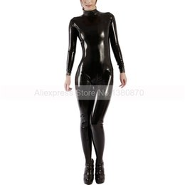 costume making latex rubber Promo Codes - Black Female Latex Rubber Catsuit Skin Tights with Socks Supply EU Size Custom Made S-LC226