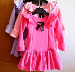 Wholesale Dress Figure Skate - Winter Girls'Cute Sweet Dancing Ballet Dress Long Sleeve Leotard Superplush Dance Skate Dress Outfit Bow Tie Pink