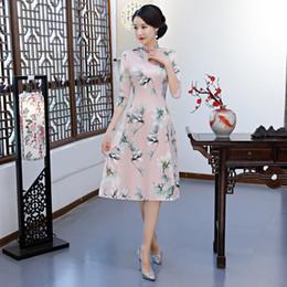 Vestidos de noche clásicos de china online-Mujer sexy rosa Qipao clásico chino estampado flor mandarín collar de gran tamaño Cheongsam delgado Rayón vestido de noche Vestidos 3XL