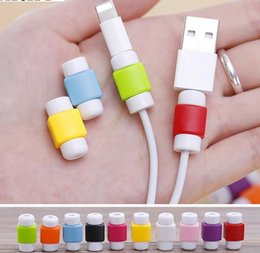 Wholesale Usb Cable Protector - 10colors USB Lightning Data Charger Cable Silicone Saver Protector Headset Protection Earphone Wire Cord Protective For iPhone 8 7 6 6S Plus