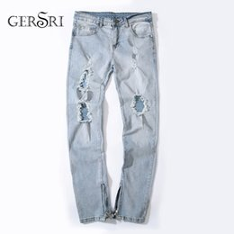 b99d1e7bf40 Gersri Light Blue straight Jeans Men Spring Summer Hole Denim Jeans Men  Cotton Elastic Denim Pants Cowboy Cool Guy Trousers