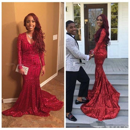 Wholesale high school prom dresses - Black Girls Sparkly Red Sequins Prom Dresses Mermaid V Neck Long Sleeves African Sweep Train Junior High School Party Evening Gowns