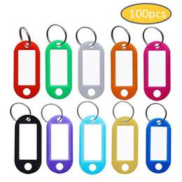 100 pçs / lote Tag Chave Chaveiro Chaveiro De Plástico Duro Tag Nome Com Anel Dividir Para Sala de Bagagem Número Chaveiro Evitar Perdido Tags 10 Cores de