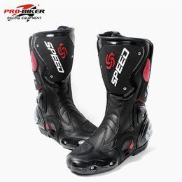 2019 botas moteras de moto Pro Biker Botas de moto de cuero Speed Off Road Racing Botas de motocrno botte moto Negro para Hombres Mujeres Motobotinki Waterproof botas moteras de moto baratos