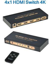 2019 selector hdmi 1.4v 4K 3D 2160P 4x1 conmutador de conmutador HDMI con selector de control remoto IR HDMI conmutador extractor de audio de 4 puertos 4 entrada 1 salida selector hdmi baratos
