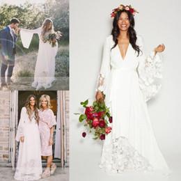 Wholesale Bell Wedding Dresses - beach wedding dresses 2018 Boho Beach Wedding Gowns Bohemian Long Bell Sleeve Lace Flower Bridal Gowns Plus Size Hippie Wedding Dress