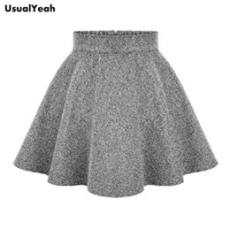 Wholesale Ladies Denim Skirt Mini - Wholesale- UsualYeah 2017 Ladies Fashion High Waist Skirts Tutu women's Spring Autumn Winter Free Shipping Mini Skirt Gray