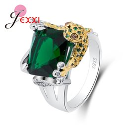austrian crystals rings wholesale Promo Codes - JEXXI New Fashion Gold Frog 925 Sterling Sier Rings Filled 5A Austrian Crystal Party Rings for Women Man Top Selling Bague