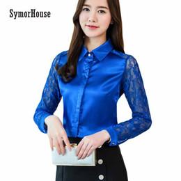 Wholesale Women Long Sleeve Silk Blouse - SymorHouse Fashion Women's Shirts Tops 2018 Spring Long Sleeve Women Blouse Sexy Lace Office Shirt Imitated Silk Chiffon Blouse