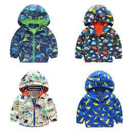 2019 estilo do exército da forma dos miúdos Outono Crianças Dinossauro Windbreaker Animal Bonito Jaqueta Impressa Meninos Outerwear Casacos Meninos Crianças Com Capuz Crianças Outfits 2-5 T