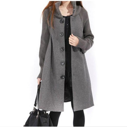 Wholesale Cape Overcoat - Autumn Winter Clothes Loose plus Size Long Woolen Cape Coat Women knitted Sleeve Patchwork Single breasted Wool Overcoat AE1509