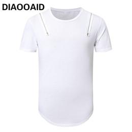 Venta al por mayor 2018 New Streetwear hombres camiseta de algodón de calidad Hipster manga corta dobladillo alargar irregular cremallera camiseta Swag Hiphop hombre desde fabricantes