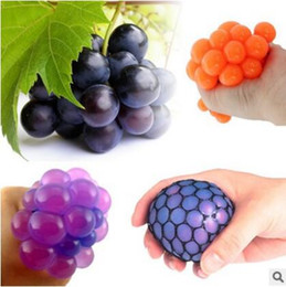 Wholesale Funny Stress - 2018 6cm Cute Anti Stress Face Reliever Grape Ball Autism Mood Squeeze Relief Healthy Toy Funny Gadget Vent Decompression toys