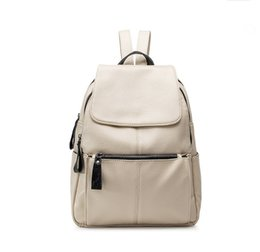 Wholesale korea brand bags - 2017 Women soft Genuine Leather Backpack vintage casual bags female shoulder bags female New Korea fashion Designer Brand C273