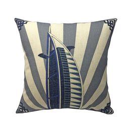 Cuscini in oro blu online-Burj Al Arab Building Digital Print Lino come Blue Gold Designer Cuscino Decorativo casa Federa per cuscino Sedia da ufficio divano 45x45 cm