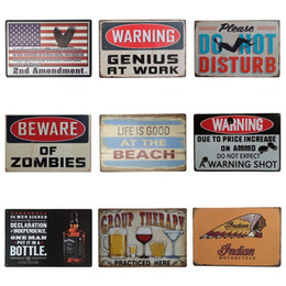 Wholesale Special For Sale - Warning Theme Vintage Style Tins Poster Special Design Iron Painting For Cinema Club Hang Decoration Hot Sale 20*30cm Z