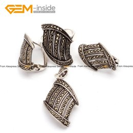 Wholesale Jade Jewellery Sets - Marcasite Stairs Shape Antiqued Silver Ring Earrings Pendant Jewelry Set Fashion Jewellery Free Shipping Wholesale Gem