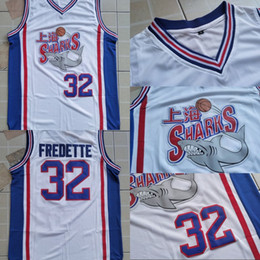 requins basket Promotion Hommes NCAA Brigham Young Cougars 32 Jimmer Fredette Shanghai Sharks Jersey University College Basketball Film Jersey Blanc Bleu
