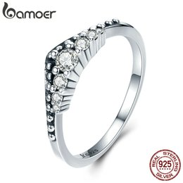 Wholesale Real Fairies - BAMOER Hot Sale Real 100% 925 Sterling Silver Fairy Tale Crown Female Rings for Women Luxury Sterling Silver Jewelry SCR260