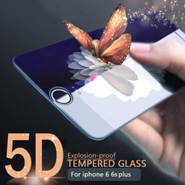 Wholesale Film Bubbles - 5D Tempered Glass Screen Protector HD Crystal Clear Bubble Free For iPhone 6 6s 7 8 Plus X Film Cell Phone Screen Protectors