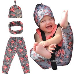 Wholesale gril baby - Boy&Gril Crawlers Children pants set Baby Printed trousers Hat scarf set Cotton cloth Kids flower printed Suit BHB23