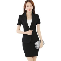 7008316e39f9 2018 Black Formal Skirt Suit Women Summer Short Sleeve One Button Blazer  and Mini Skirt 2 Pieces Set Office Work Suits ow0324
