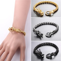 Wholesale chinese gold charm bracelet - U7 Jewelry Stainless Steel Statement Chinese Dragon Chain Bracelet Gold Plated Black Gun Plated Men's Biker Jewelry GH2703