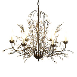 Wholesale Black Iron Crystal Chandelier - led chandelier light fixtures iron crystal pendant lights 8 heads black chandeliers home decor American village style