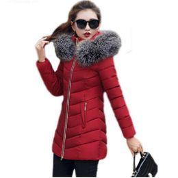 Wholesale Winter Jacket Fur Wadded - 2017 New Winter Jacket Women Long Slim Large Fur Collar Hoode Women Cotton coat Thick Female Wadded Jacket Plus Size parka woman