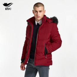Wholesale Large Faux Fur Hats - HAI YU CHENG Parka Cotton Overcoat Faux Fur Hood Mens Windbreaker Male Clothes Snow Wear Large Size Men Jacket Men Winter Jacket