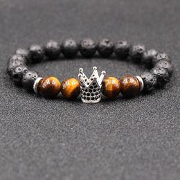 porcelain silver bracelet 2018 - 2018 New Zircon Crown Bracelet Natural Stone Tigereye Stone Bracelet Yoga Lovers Bracelet Lava Rock Bangles For Unisex Gift