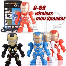 Wholesale radio arm - C-89 Bluetooth Mini Speaker With LED Flash Light Deformed Arm Figure Robot C89 Portable Mini Wireless Subwoofers TF FM USB Card