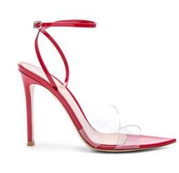 Tacchi alti online-2018 Donna Fashion Sharp Sandali con tacco punta in PVC trasparente cinturino alla caviglia fibbia scarpe tacco alto