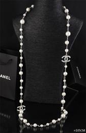 schmuck endet Rabatt Qualität Promi Design Brief Blumen Perle Kugelkette Halskette Mode Metall Brief Diamant Halskette Schmuck Mit Box
