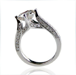 Wholesale White Gold Round Ring Mountings - 925 Sterling Silver Jewelry White Gold Color Hearts and Arrows Ring Semi Mount Round 2CT Synthetic Diamonds Engagement Ring