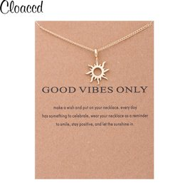 Wholesale Good Birthday Cards - whole saleCloaccd Simple Fashion Women Gold Color Good Vibes Only Sun Chain Pendant Necklace Birthday Gifts With Card