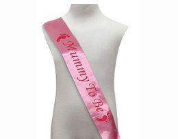 Wholesale Gift Satin Ribbon - Mum To Be Sash Baby Shower Satin Ribbon Mummy To Be Sashes Pink Blue Shoulder Strap New Mom Party Decoratives Supplies Gift
