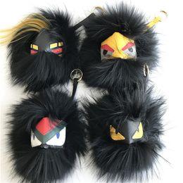 Wholesale fox bags - Black Series Large Soft Real Fox Fur Monster Bug bag Charm Pom Ball plush Keyring Tassel Pendant
