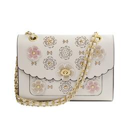 Wholesale camellia shoulder bags - 2018 Women Handbags PU Leather Three-dimensional Flowers Camellia Lady Hand Bag Flap Shoulder Crossbody Light Apricot Bags