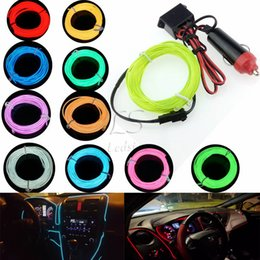 Wholesale Wholesale El Wire - Car Cigarette Lighter Plugs 12V 1M 2M 3M 5M LED light 10 Colors EL Wire Tube Rope Flexible Neon Cold Light Car Decor
