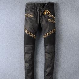 Wholesale Golden Pants - Men Clothing Men's Skinny Pencil Pants Jeans for Men High Quality Jeans Manual Paste Crystal Golden Wings Men's Fashion Crime Zipper Pants
