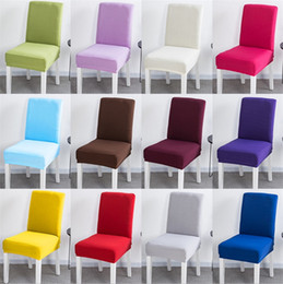 covered dining room chairs NZ - High Elastic Chair Cover Restaurant Hotel Wedding Dining Room Chair Cover Home Decors Seat Covers Spandex Stretch Banquet I382