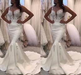Wholesale unique summer - 2018 Latest Sweetheart Neck Mermaid Wedding Dresses White O-neck Satin Mermaid Bridal Gowns Unique Robe De Mariage Bridal Wedding Gowns