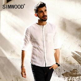 fb1d558ca1c Wholesale- SIMWOOD 2017 Spring Summer New Casual Men Shirts Long Sleeve O  neck 100% Pure Linen Slim Fit Plus Size brand-clothing CC017002
